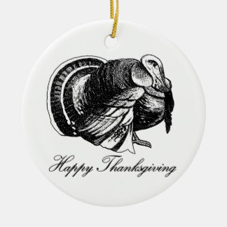 Happy Thanksgiving Turkey Ceramic Ornament