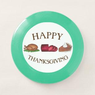 Happy Thanksgiving Turkey Cranberry Pumpkin Pie Wham-O Frisbee ea943935fbc6