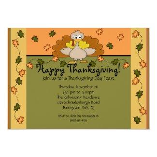 Happy Thanksgiving Turkey Dinner 5x7 Paper Invitation Card