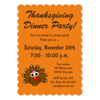 Happy Thanksgiving Turkey dinner party invitation