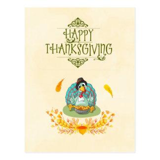 Happy Thanksgiving Turkey Eating Pumpkin Pie Postcard