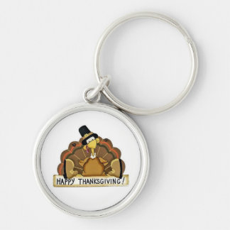 Happy Thanksgiving Turkey Silver-Colored Round Keychain