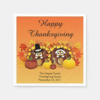 Happy Thanksgiving Turkey Owl Pilgrims Paper Napkin