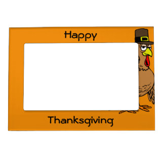Happy Thanksgiving Turkey Pilgrim Magnetic Photo F Magnetic Picture Frame