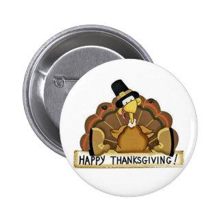 Happy Thanksgiving Turkey Pinback Button