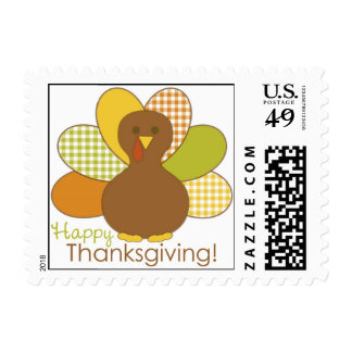Happy Thanksgiving Turkey Postage Stamp