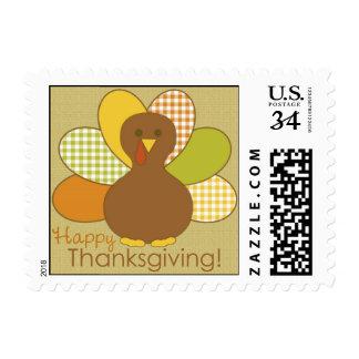Happy Thanksgiving Turkey Postcard Postage Stamp