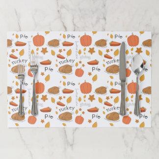 Happy Thanksgiving Turkey & Pumpkin Pie Paper Placemat