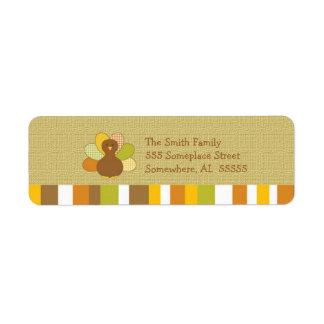 Happy Thanksgiving Turkey Return Address Labels