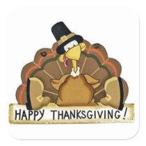 Happy Thanksgiving Turkey Square Sticker