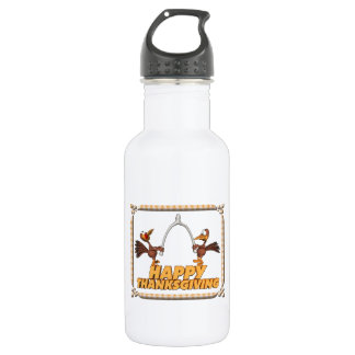 Happy Thanksgiving Turkeys with Wishbone Stainless Steel Water Bottle