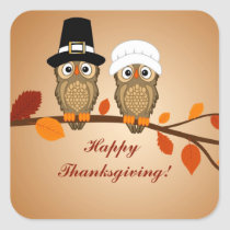 happy thanksgiving two cute owls square sticker