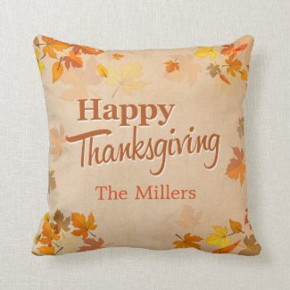 Happy Thanksgiving Vintage Rustic Autumn Leaves