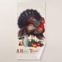 Happy Thanksgiving Vintage Turkey Bath Towel