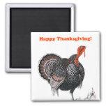 Happy Thanksgiving Vintage Turkey Drawing Magnet