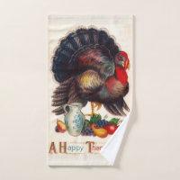 Happy Thanksgiving Vintage Turkey Hand Towel