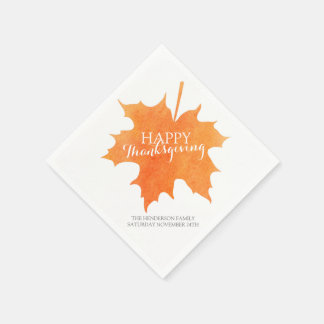 Happy thanksgiving watercolor maple leaf napkins standard cocktail napkin