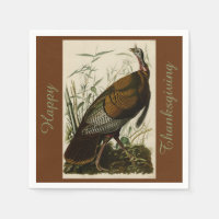 Happy Thanksgiving Wild Turkey John Audubon Brown Paper Napkin