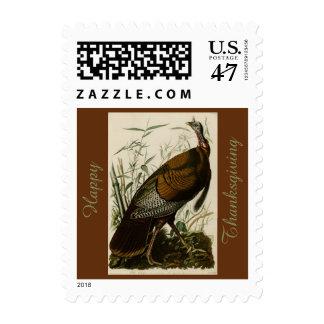 Happy Thanksgiving Wild Turkey John Audubon Brown Postage