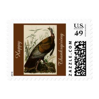Happy Thanksgiving Wild Turkey John Audubon Brown Postage Stamp
