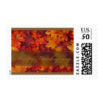 Happy Thanksgiving with autumn leaves Postage