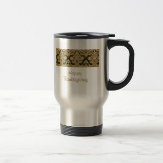 Happy Thanksgiving with fabric pattern Travel Mug