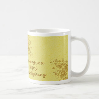 Happy Thanksgiving with flowers and leaves Coffee Mug