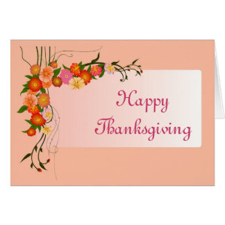 Happy Thanksgiving with flowers scroll custom text Card