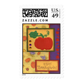 Happy Thanksgiving with pumpkin Postage Stamp