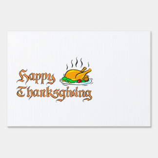 Happy Thanksgiving with turkey platter Lawn Sign