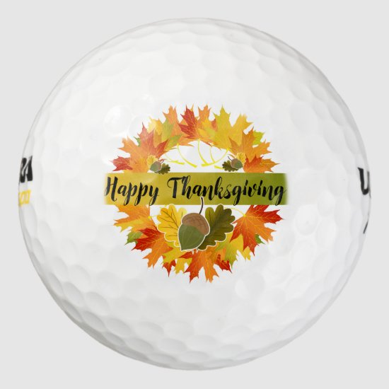 """Happy Thanksgiving Wreath, Acorn Golf Balls"