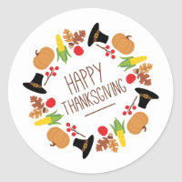 Happy Thanksgiving Wreath Classic Round Sticker