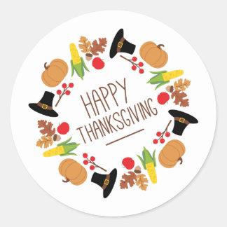 Happy Thanksgiving Wreath Classic Round Sticker