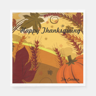 Happy Thanksgiving YOUR NAME Fall Colors Leaves Napkin