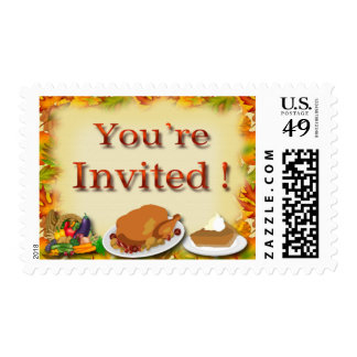 Happy Thanksgiving You're Invited Postage Stamps