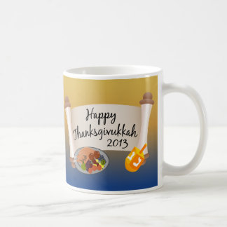 Happy Thanksgivukkah 2013 Dreidl/Turkey Coffee Mugs