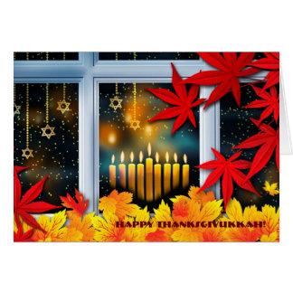 Happy Thanksgivukkah. Hanukkah and Thanksgiving Greeting Card