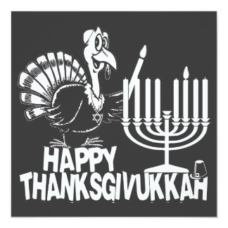 Happy Thanksgivukkah Monochrome Party Invitations