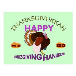 Happy Thanksgivukkah, Thanksgiving and Hanukkah Post Card