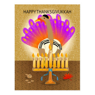 Happy Thanksgivukkah Turkey Postcard