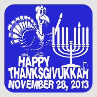 Happy Thanksgivukkah White and Blue Stickers