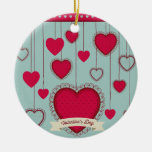 happy the Valentins Double-Sided Ceramic Round Christmas Ornament