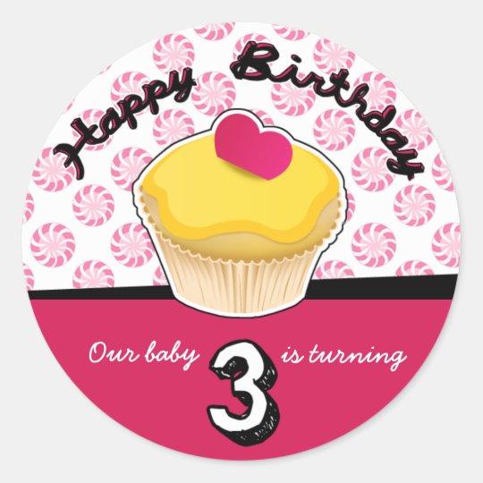Happy Third (3rd) Birthday Cupcake Stickers! Classic Round Sticker