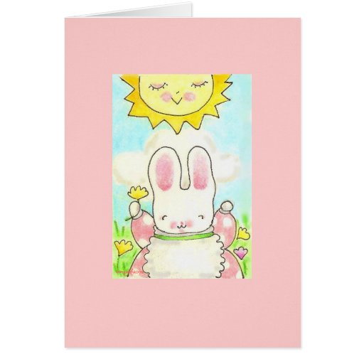 happy thought girl bunny card