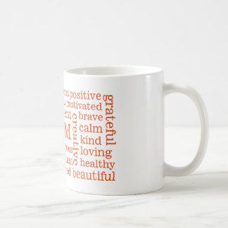 Happy Thoughts Positive I AM Statements Orange Coffee Mug