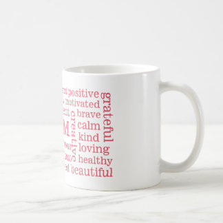 Happy Thoughts Positive I AM Statements Pink Coffee Mug