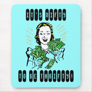 Happy Thrifty Lady Money in Hand Savings Gifts Mouse Pad