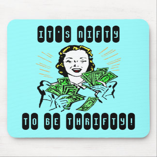 Happy Thrifty Lady Money in Hand Savings Gifts Mouse Pads