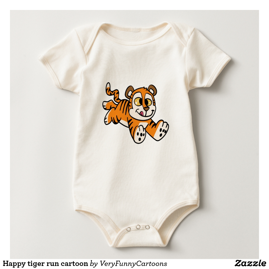 Happy tiger run cartoon baby bodysuit - Adorable Baby Bodysuit Designs