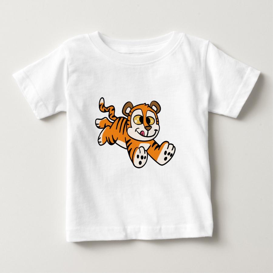 Happy tiger run cartoon baby T-Shirt - Soft And Comfortable Baby Fashion Shirt Designs